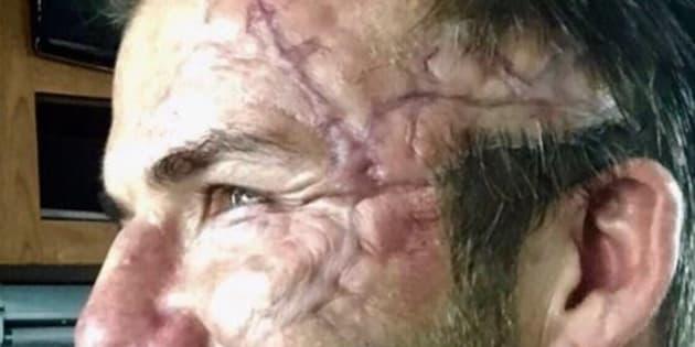 """David Beckham maquillé pour le film """"Le roi Arthur: la légende d'Excalibur"""""""