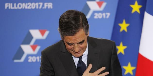 Francois Fillon, à son QG après la victoire.