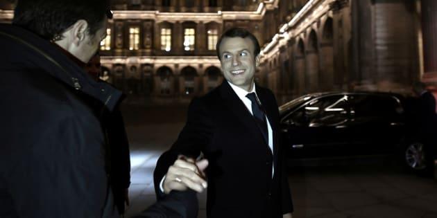 Emmanuel Macron lors de son arrivée au Louvre après le résultat de l'élection présidentielle 2017.   REUTERS/Philippe Lopez/Pool
