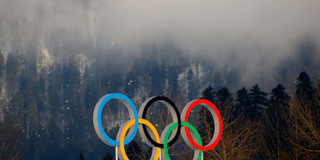The Olympic rings are seen at the Sochi 2014 Winter Olympics.