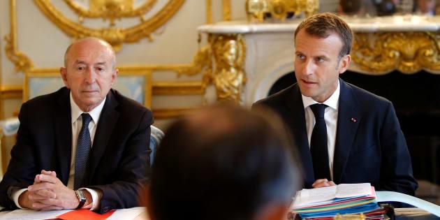 Gérard Collomb et Emmanuel Macron à l'Elysée le 3 août 2018.