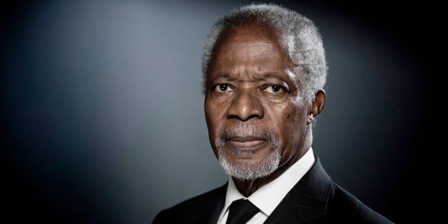 El ex secretario general de la ONU, Kofi Anna, durante una sesión fotográfica en París en diciembre de 2017.