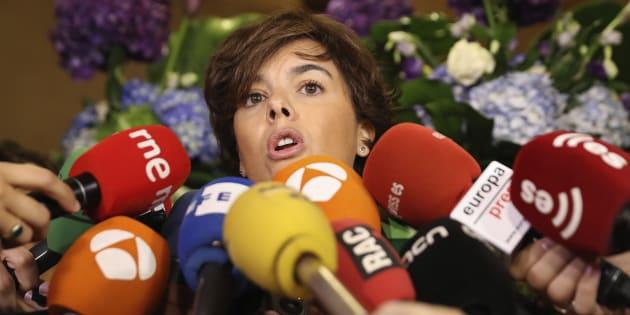 La vicepresidenta del Gobierno, Soraya Sáenz de Santamaría, esta mañana, en un desayuno organizado en Madrid por Forum Europa.