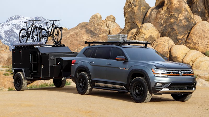 vw atlas basecamp concept  lifted offroad camping suv autoblog