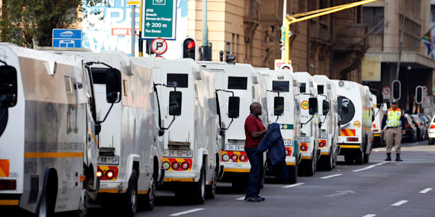 A cash-in-transit worker arrives at a nationwide protest in Johannesburg, South Africa, on June 12 2018 following a spate of deadly heists this year.
