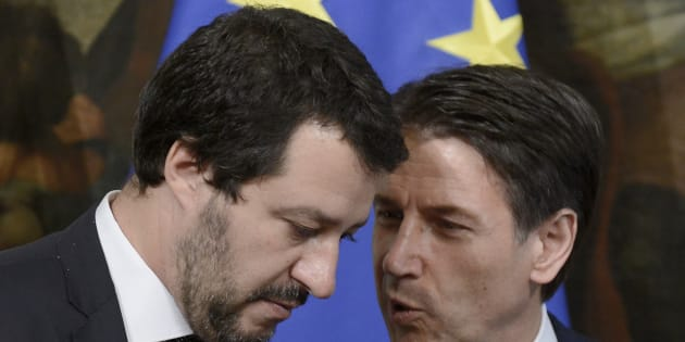 ROME, ITALY - JUNE 13:  Matteo Salvini and Giuseppe Conte during the oath of the Vice Presidents and Subsecretaries at Palazzo Chigi on June 13, 2018 in Rome, Italy. The Italian Government is completed by the appointment of 39 Under-Secretaries and 6 Vice-Presidents.(Photo by Simona Granati - Corbis/Corbis via Getty Images,)
