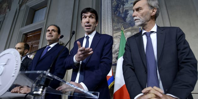 ROME, ITALY - MAY 07:  Matteo Orfini, Andrea Marcucci, Maurizio Martina and Graziano Delrio, leader of Democratic Party at the end of the Consultations of the President of the Republic for the formation of the new Government, on May 7, 2018 in Rome, Italy. (Photo by Simona Granati - Corbis/Corbis via Getty Images)