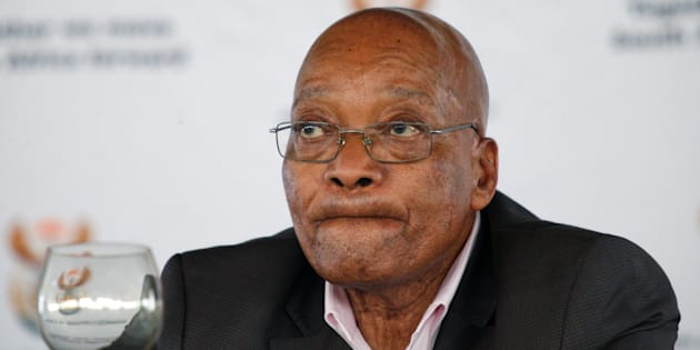 South Africa's President Jacob Zuma reacts during a rally following the launch of a social housing project in Pietermaritzburg, South Africa April 1, 2017.