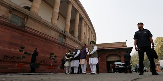 Prime Minister Narendra Modi speaks to the media inside the parliament premises on the first day of the winter session.
