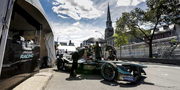 Une voiture de Formule E lors du ePrix de Montréal.