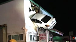 Car Flies Into Second Floor Of Building And Stays