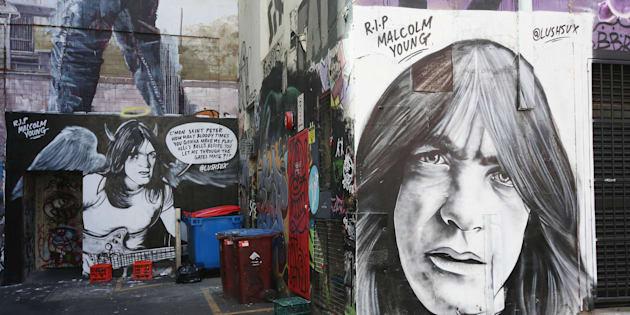 Fans pay tribute to Malcolm Young on ACDC Lane on November 28, 2017, in Melbourne, Australia.