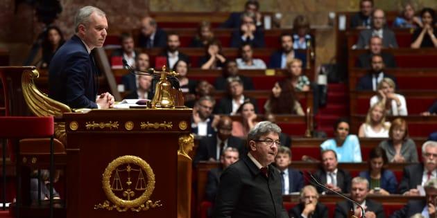 Le chef de file de la France insoumise Jean-Luc Mélenchon et le président de l'Assemblée François de Rugy.