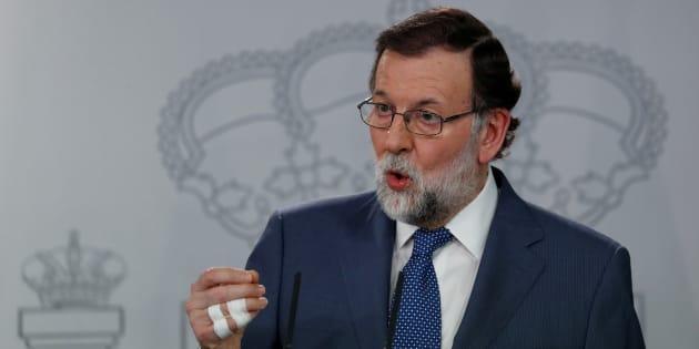 Mariano Rajoy, presidente del Gobierno, en una rueda de prensa en el palacio de La Moncloa.
