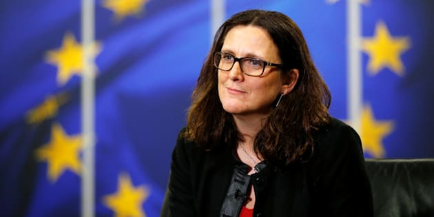 La comisionada de Comercio Europea, Cecilia Malmstrom, durante una entrevista en la sede de la Comisión de la UE en Bruselas, Bélgica, el 15 de enero de 2018.