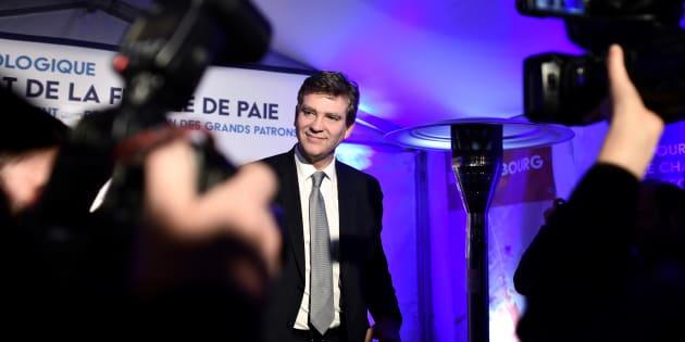 Arnaud Montebourg à son QG de campagne après l'annonce des résultats du premier tour de la primaire de la gauche.