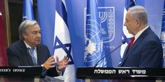 El secretario general de la ONU, Antonio Guterres, y el primer ministro israelí, Benjamin Netanyahu, durante su rueda de prensa de hoy en Jerusalén.