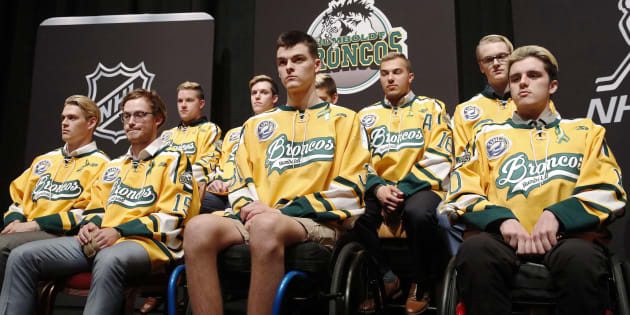 Members of the Humboldt Broncos hockey team attend a news conference in Las Vegas in this June 19, 2018 file photo.