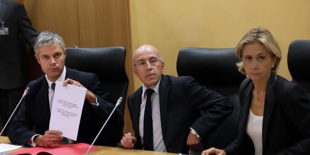 Laurent Wauquiez, Éric Ciotti et Valérie Pécresse à l'Assemblée nationale en 2012, pour défendre la victoire de François Fillon à la présidence de l'UMP.