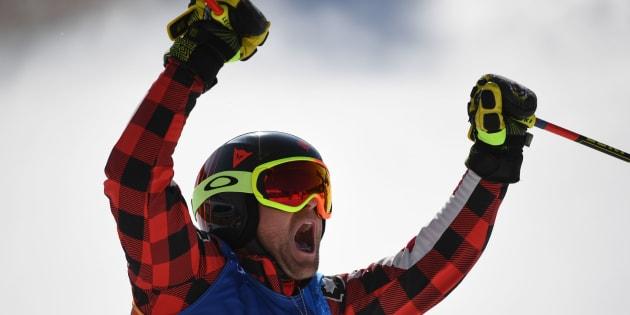 Canada's Brady Leman celebrates after winning the men's ski cross final.