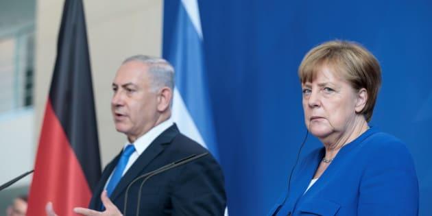 La canciller alemana, Angela Merkel, y el primer ministro de Israel, Benjamin Netanyahu, este lunes en Berlín.