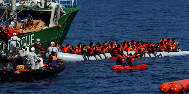 Rescue NGOs Sea-Eye and the Migrant Offshore Aid Station (MOAS) carry out a joint rescue operation as some migrants on a rubber dinghy drowned in the central Mediterranean in international waters off the coast of Libya, April 16, 2017.    REUTERS/Darrin Zammit Lupi