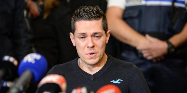 Jonathann Daval lors d'une conférence de presse à Gray le 2 novembre 2017.