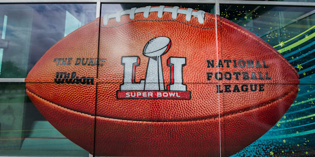 HOUSTON, TX - FEBRUARY 05:  The Super Bowl LI football is featured at the West entrance at the Super Bowl LI between the New England Patriots and Atlanta Falcons on February 5, 2017 at NRG Stadium in Houston, Texas. (Photo by Leslie Plaza Johnson/Icon Sportswire via Getty Images)