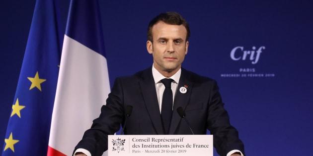 Emmanuel Macron lors de son discours pendant le 34e dîner du Crif à Paris le 20 février 2019.
