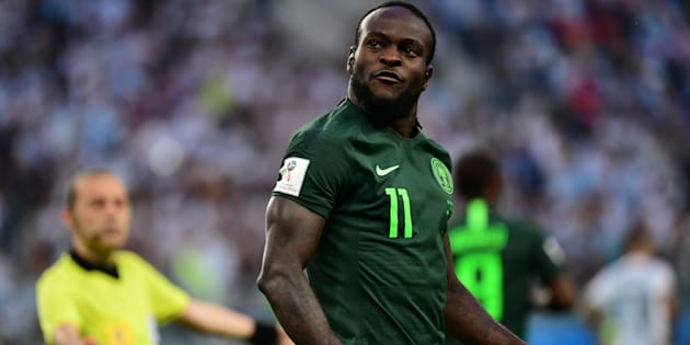 Nigeria's forward Victor Moses celebrates scoring a penalty to equalise during the 2018 World Cup Group D match between Nigeria and Argentina at the Saint Petersburg Stadium on June 26 2018.