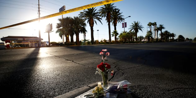 Flowers are pictured near the site of the mass shooting at the Route 91 Harvest Country Music Festival on the Las Vegas Strip in Las Vegas, Nevada, U.S., October 3, 2017. REUTERS/Chris Wattie