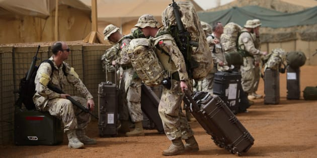 Canadian troops arrive to a UN base in Gao, Mali on June 25, 2018.