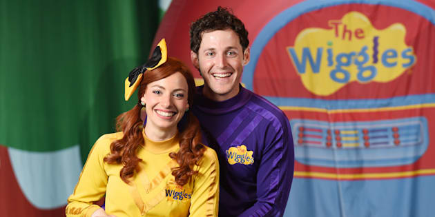 Emma Watkins and Lachlan Gillespie from children's band 'The Wiggles' pose between shows at the Golden Grove Arts Centre on May 5, 2015 in Adelaide, Australia.