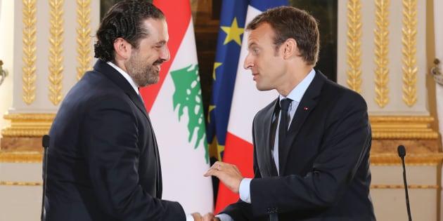 Emmanuel Macron et le Premier ministre démissionnaire du Liban Saad Hariri, début septembre à l'Élysée.
