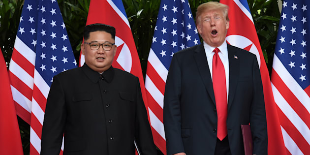 Donald Trump and Kim Jong Un after their summit at the Capella Hotel on Sentosa island in Singapore June 12 2018.