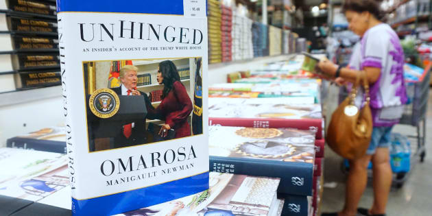 Omarosa Manigualt-Newman's newly released book 'Unhinged' is displayed and for sale in Alhambra, California on Aug. 4, 2018.