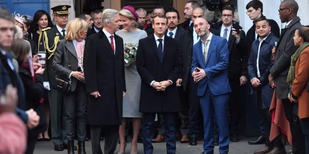 Le couple Macron et le couple royal belge à Molenbeek mardi 20 novembre