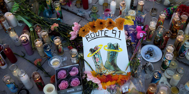 A makeshift memorial for the victims of Sunday night's mass shooting stands at an intersection on the north end of the Las Vegas Strip on Oct. 3, 2017.