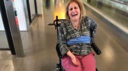 Une femme atteinte de sclérose en plaques attachée à un fauteuil roulant par Delta, selon sa