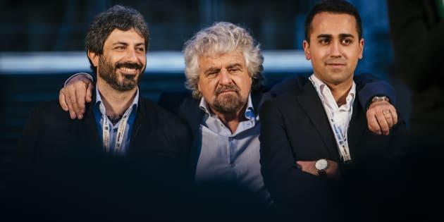 Activists of the Five Star Movement (m5s) Beppe Grillo (C), Luigi Di Maio (R), Roberto Fico (L) gather to invoke a NO vote to the upcoming constitutional referendum. 26th november 2016, Rome. (Photo by Jacopo Landi/NurPhoto via Getty Images)