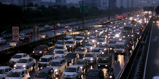 Gurgaon: Heavy traffic jam on the Delhi-Gurgaon Expressway due to heavy rains in Gurgaon on Monday. PTI