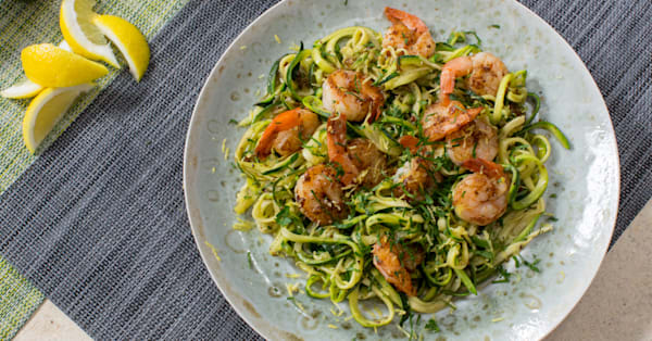 One-pan lemon garlic butter shrimp with zoodles cooks in under 15 minutes