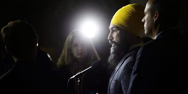 NDP Leader Jagmeet Singh speaks during a press conference on Parliament Hill in Ottawa on Oct. 15, 2018.