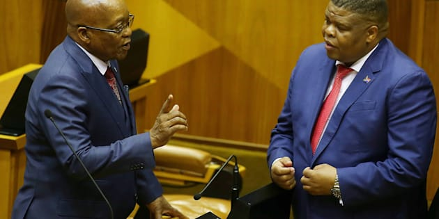 President Jacob Zuma shares a word with Energy Minister David Mahlobo in the National Assembly on November 2, 2017.