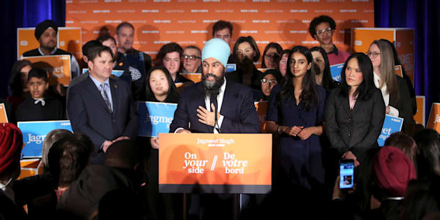 NDP Leader Jagmeet Singh speaks with supporters at the Burnaby South byelection in Burnaby, B.C., on Feb. 25, 2019.