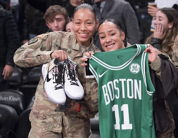 Kyrie Irving gives jersey, sneakers to soldiers