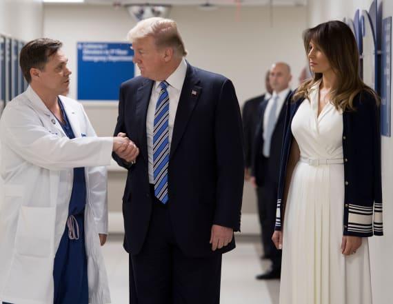 Trump visits Fla. shooting victims at hospital
