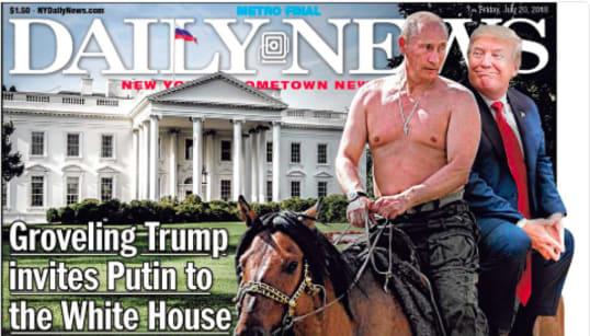 Putin 'topless' y Trump sentado a sus espaldas: la portada de la