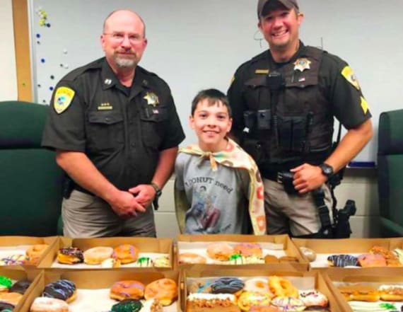 Boy, 10, delivers doughnuts to officers across US