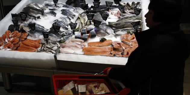 Des poissons dans un hypermarché Auchan à Moscou, en novembre 2018.